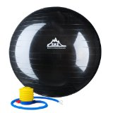 Black Mountain Products Anti Burst Exercise Stability Ball with Pump, Black, 2000-Pound/75cm
